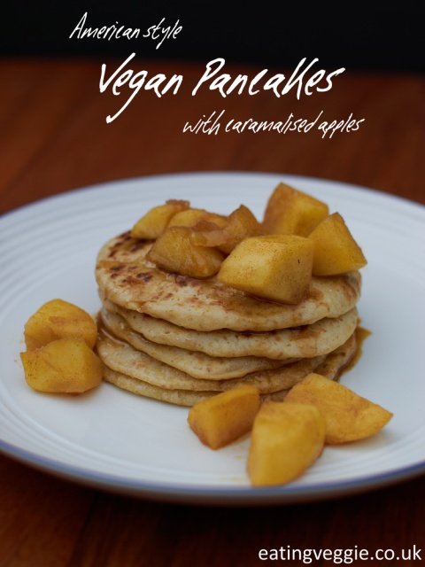 American Style Vegan Pancakes with Caramalised Apples